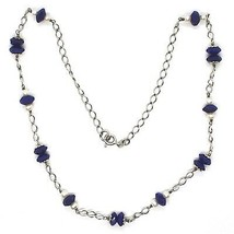 Necklace Silver 925, Lapis Lazuli Blue Disco Faceted, Pearls, 45 CM image 2