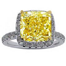 5.59 CT FANCY YELLOW RADIANT & DIAMOND HALO ENGAGEMENT RING 18K WHITE GO... - $4,553.01