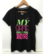 NIKE Dri-Fit Slim V Neck Graphic MY GAME IS BOSS Short Sleeve Tee Shirt ... - $16.95