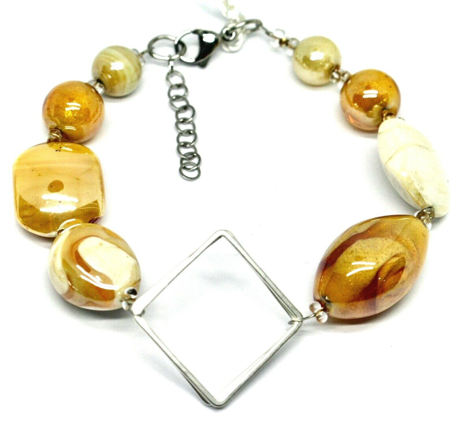 BRACELET WHITE ORANGE ROUNDED DROP, SPHERE EXAGON MURANO GLASS SQUARE ITALY MADE