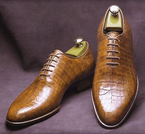 Handmade Men's Brown Crocodile Texture Leather Oxford Shoes