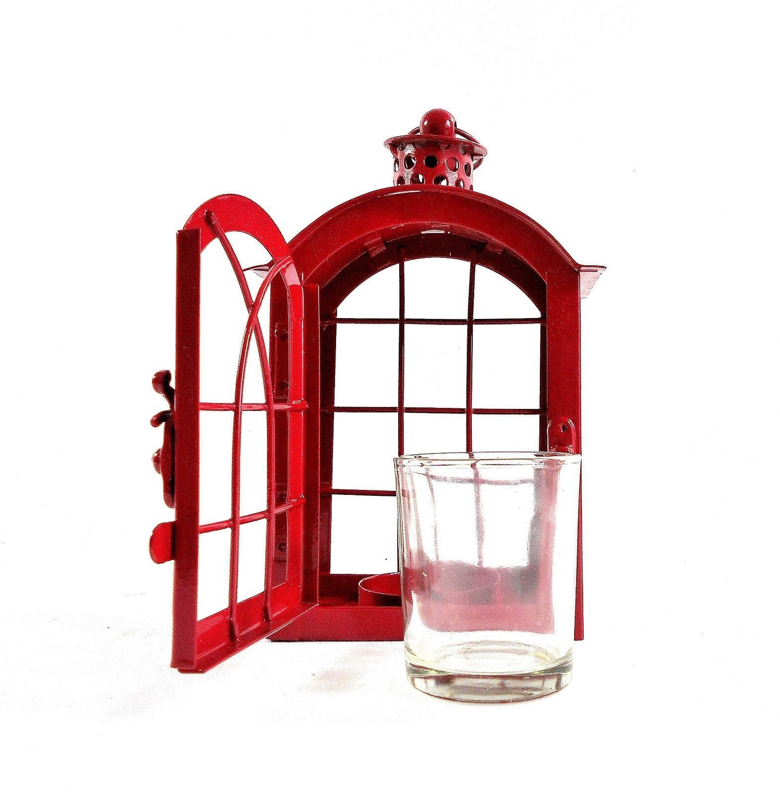 Red Metal Votive Candle Lantern w/Glass Candle Cup - Boho-Chic Candle Lantern image 9