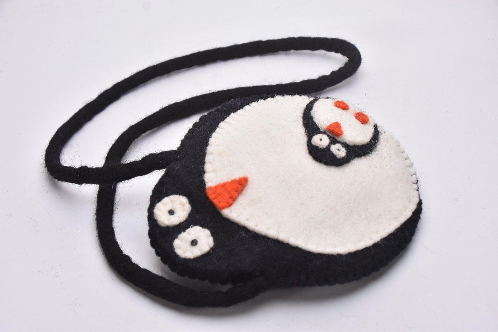 Purse hand Carry Bag wool Penguin and baby Bag Handmade Flower bag purse Nepal
