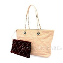 CHANEL Chain Tote Bag Caviar Leather Pink Beige Matelasse A92754 Italy A... - $1,812.55