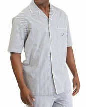 Nautica Men's Woven Stripe Camp Shirt (White/Blue, L) - $22.90