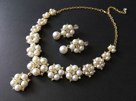 Lovely gold flowers wedding necklace, rhinestones crystals necklace, bri... - $32.88