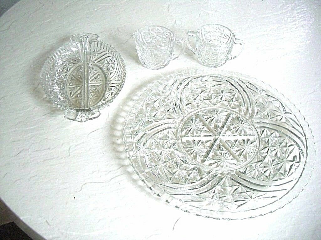 Primary image for Imperial 4 Pc. Set Matching Cake Plate Relish Dish and Cream & Sugar