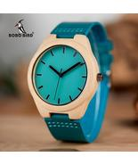 BOBO BIRD Men's handmade, quartz, wooden watch with leather band. M-CbF20 - $44.99