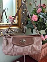 Coach Large Madison Wristlet Dotted OP Art Large Khaki Taupe Leather 444... - $58.04