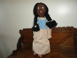 Vintage Dolly Handmade England Stuffed Cotton Doll with Braids 20 inch - $59.91