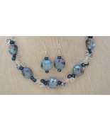On Sale! Large Light Blue Faceted Glass Necklace Earrings Sterling - $39.99