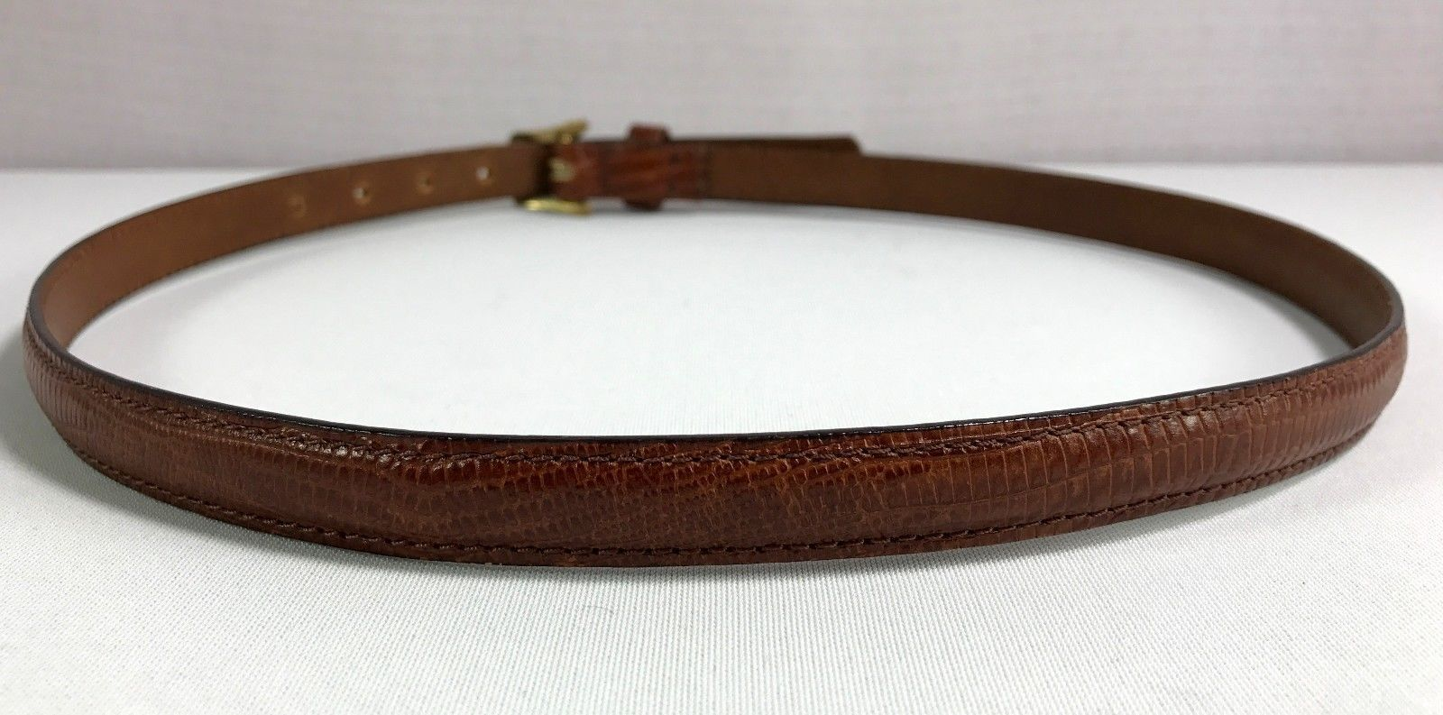 LEEGIN Womens Brown Leather Skinny Belt size 26