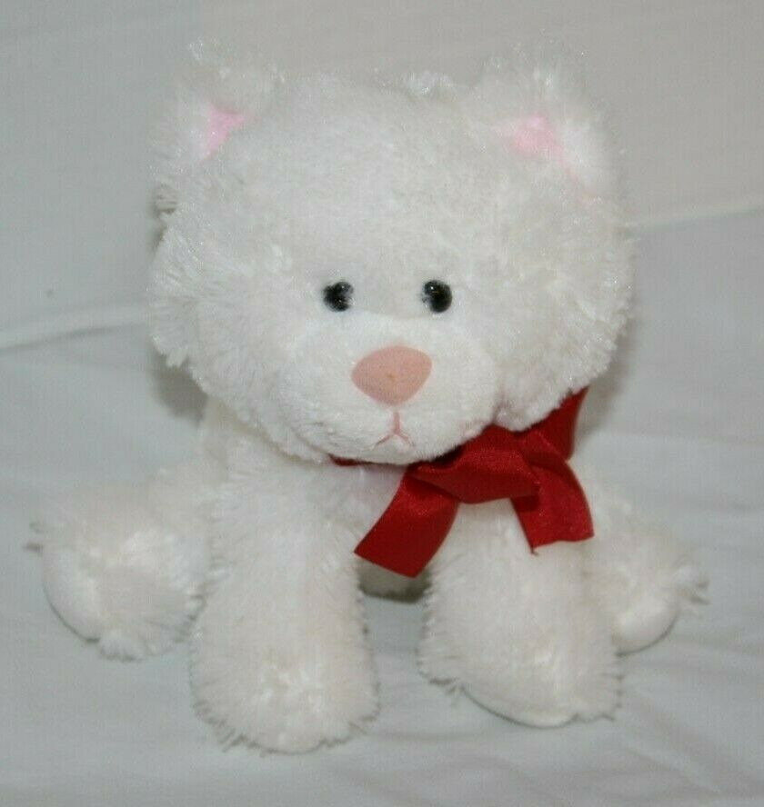 "Primary image for Russ White Cat Sits 7"" Plush Kitten Red Neck Bow Stuffed Soft Toy Bean Bag Kitty"
