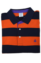 Brooks Brothers Mens Orange Blue Striped Slim Fit Cotton Polo Shirt 2XL 3205-4 - $55.07