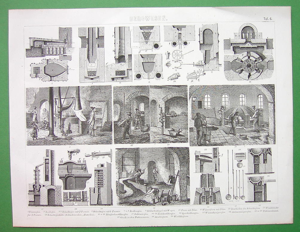 MINING Furnaces & Foundries Glass Mercury - Original Print Engraving