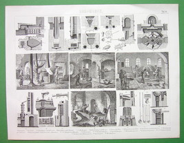 MINING Furnaces & Foundries Glass Mercury - Original Print Engraving - $12.60