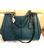 Coach 25245 Madison Textured Leather Caroline Satchel QB TEAL!! Blue Green - $200.00