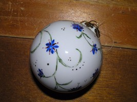 Vintage Hand Painted w Blue Flower Vine White Porcelain Christmas Tree B... - $8.59
