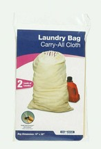 Homz LAUNDRY BAG Carry-All Cloth Tan Canvas 2 Loads Laundry Drawstring 1... - $9.99