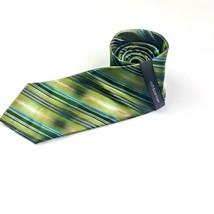 "Croft & Barrow Silk Tie Green Blue Khaki Diagonal Stripes 3.25""X 60"" - $13.85"