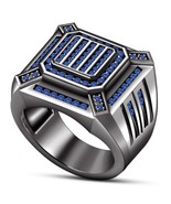 1.00 Ct Sapphire 14K Black Gold Finish 925 Silver Mens Engagement Pinky... - $122.99
