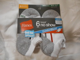 Boys Hanes No Show Socks 6 Pair Size Medium 9 - 2 1/2 Comfort Blend Whit... - $9.89