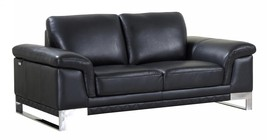 Global Furniture 411 Modern Black Genuine Italian Leather Loveseat