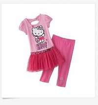 Hello Kitty Girl 4 Pink Glitter Tutu Tunic Top Capri Leggings Outfit Clothes - $16.99