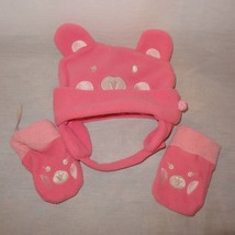 Teddy Bear Hat Mittens  Size 27 Months Toddler  Pink Fleece - $9.99