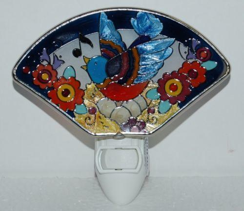 Joan Baker Designs NL167 Folk Bird Hand Painted Glass Art Night Light