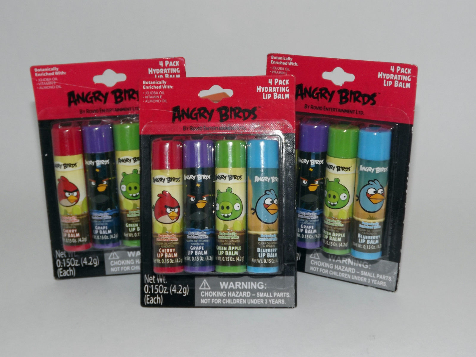 3 Packs 12 Tubes Angry Birds Hydrating Lip Balm Rovio .15 Oz Each New Sealed  17