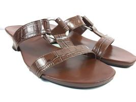 Andrew Geller Flattery Women's Brown Leather Slip On Sandals Open Toe Si... - $18.41