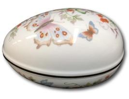 Avon Trinket Dish Egg Shaped Butterfly Floral 22K Gold Edge Porcelain Tr... - $9.89