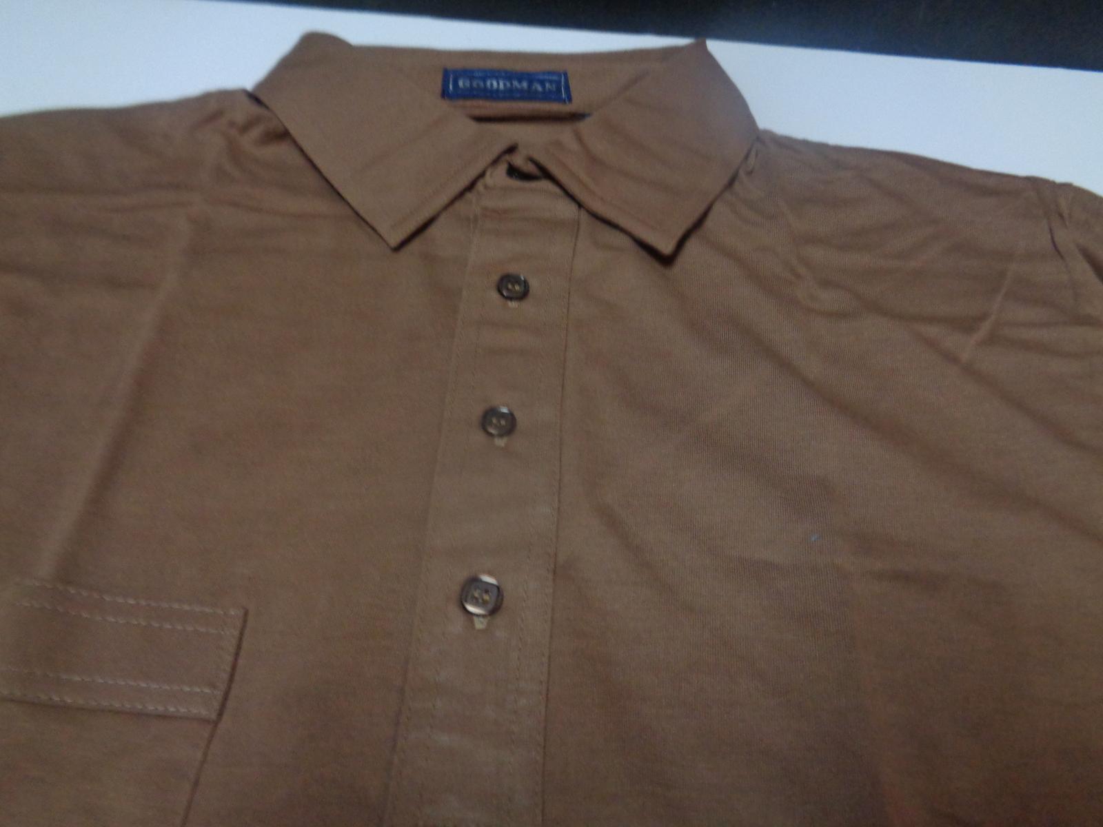 Men's Golf Work Dress Shirt NWT Brown Short Sleeve No Iron Shirt Size M