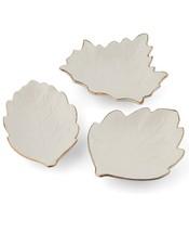 Thirstystone Set of 3 Leaf Shaped Harvest Gold Rim Ceramic Appetizer Plates NEW