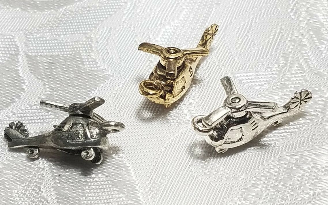 HELICOPTER WITH MOVING BLADE FINE PEWTER PENDANT CHARM - 10x20x9mm