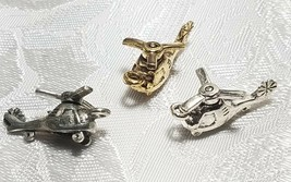 HELICOPTER WITH MOVING BLADE FINE PEWTER PENDANT CHARM - 10x20x9mm image 1