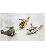 HELICOPTER WITH MOVING BLADE FINE PEWTER PENDANT CHARM - 10x20x9mm - $0.99