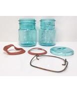 Ball Sure Seal Ideal Aqua Blue Green Canning Jars Patd July 14 1908 Vintage - $39.99