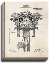 Cuckoo Clock Patent Print Old Look on Canvas - $39.95+