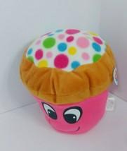 Nanco Plush cupcake smile face pink brown polka dots on top blue yellow green - $14.84