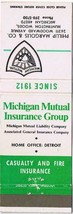 Michigan Matchbook Cover Huntington Woods Michigan Mutual Insurance Group - $1.89