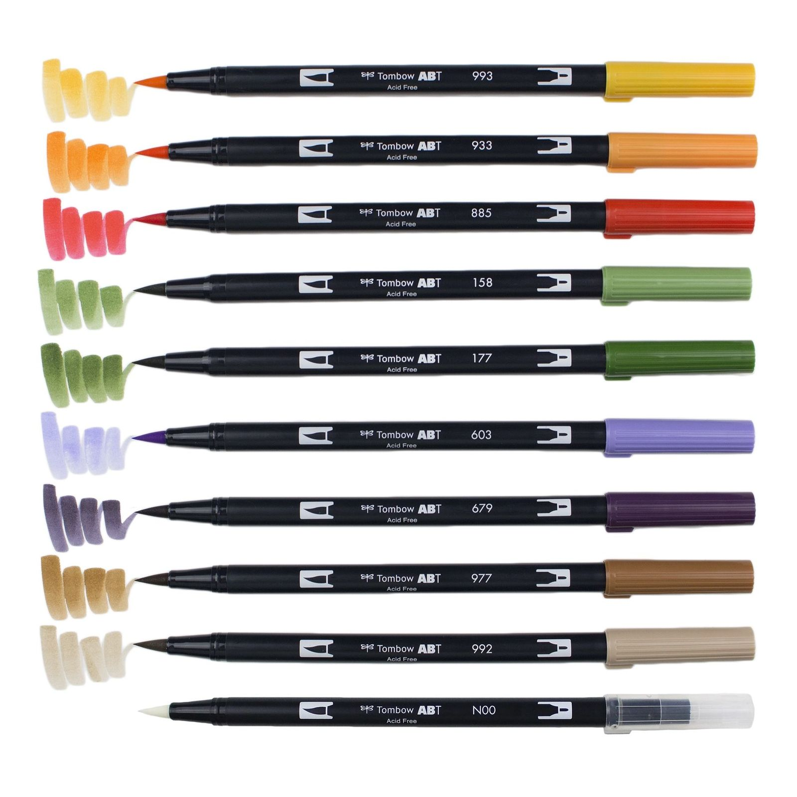 Primary image for Tombow ABT Dual Brush Pens (Brush Tip + 0.8mm Fine Tip) 10-Color Set, Secondary,
