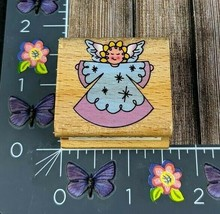 StampCraft Angel Rubber Stamp Flying Stars Single Wood #H34 - $2.97