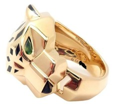 Authentic! Cartier 18k Yellow Gold Panther Onyx Tsavorite Ring + Box Pap... - $11,500.00