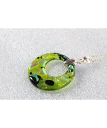 Handmade Fused Coloured Glass Pendant Necklace+ Silver Chain & Extension... - $7.91