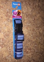 "Large Dog Collar NEW Aspen Pets 1""W Adjustable 16-26"" Neck Stripe Blue M... - $15.00"