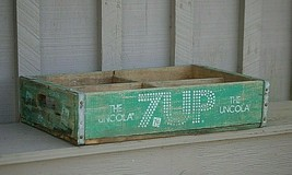 Vintage Wood Green 7-Up Soda Pop Bottle Crate Carrier Tool The Uncola 4 ... - $49.49