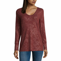 NWT $27  a.n.a   metallic LONG sleeve tee TOP SIZE petite XXLARGE - $17.81