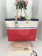 New Coach Bag Legacy Signature Stripe XL Tote Red White & Blue 23462  B2Y - $118.79